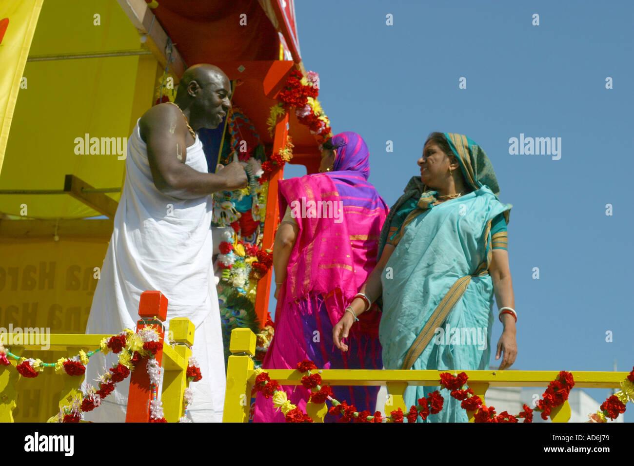 Cérémonie de la secte Hare Krishna, pageant Banque D'Images