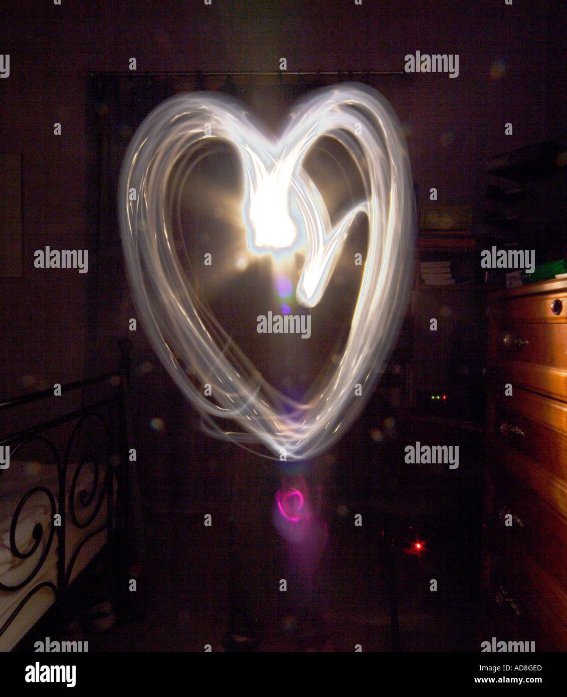 Peindre avec la lumière forme de coeur Banque D'Images