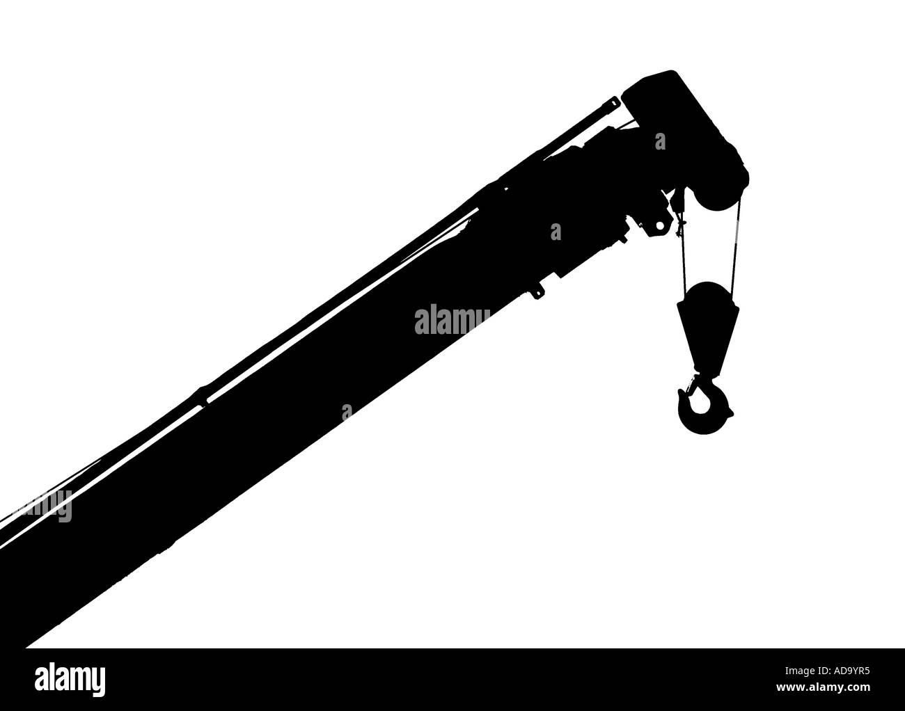 Flèche et crochet d'une petite grue Photo Stock
