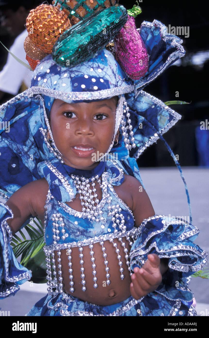 Girl Wearing Costume Kiddies Carnival Port Of Spain Trinité Trinité