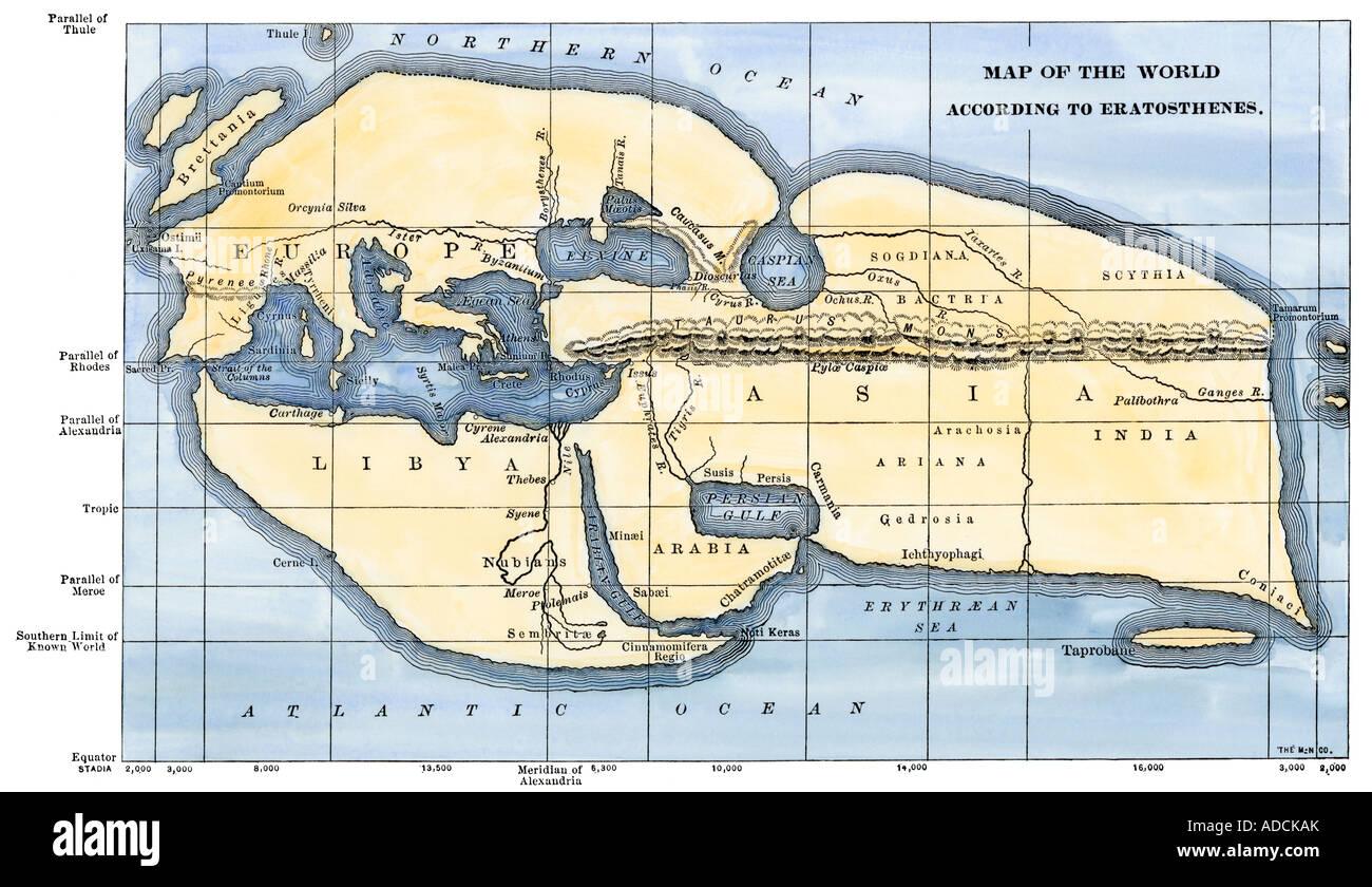 Carte du monde selon le géographe grec Eratosthène. À la main, gravure sur bois Photo Stock