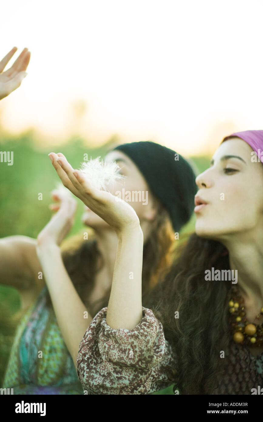 Les jeunes femmes hippie blowing dandelion seeds Photo Stock