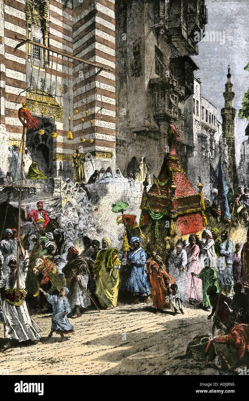 Prise de Constantinople par les Turcs ottomans en 1453. À la main, gravure sur bois Banque D'Images