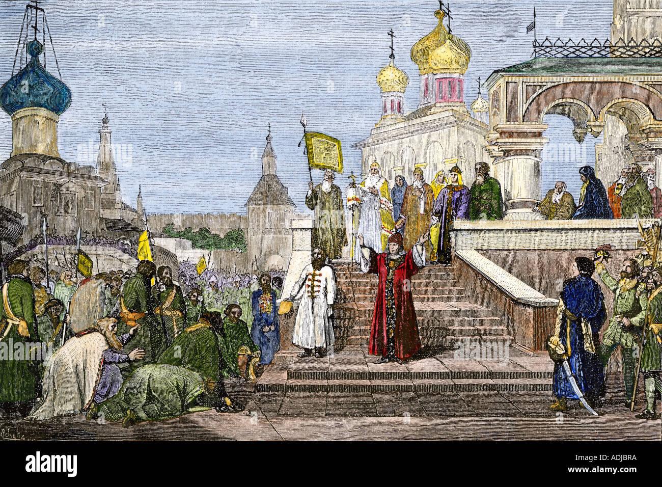 Le tsar Pierre I à la réception du monastère Troitsa les députations des Streltsi. La main, d'une illustration de demi-teinte Photo Stock