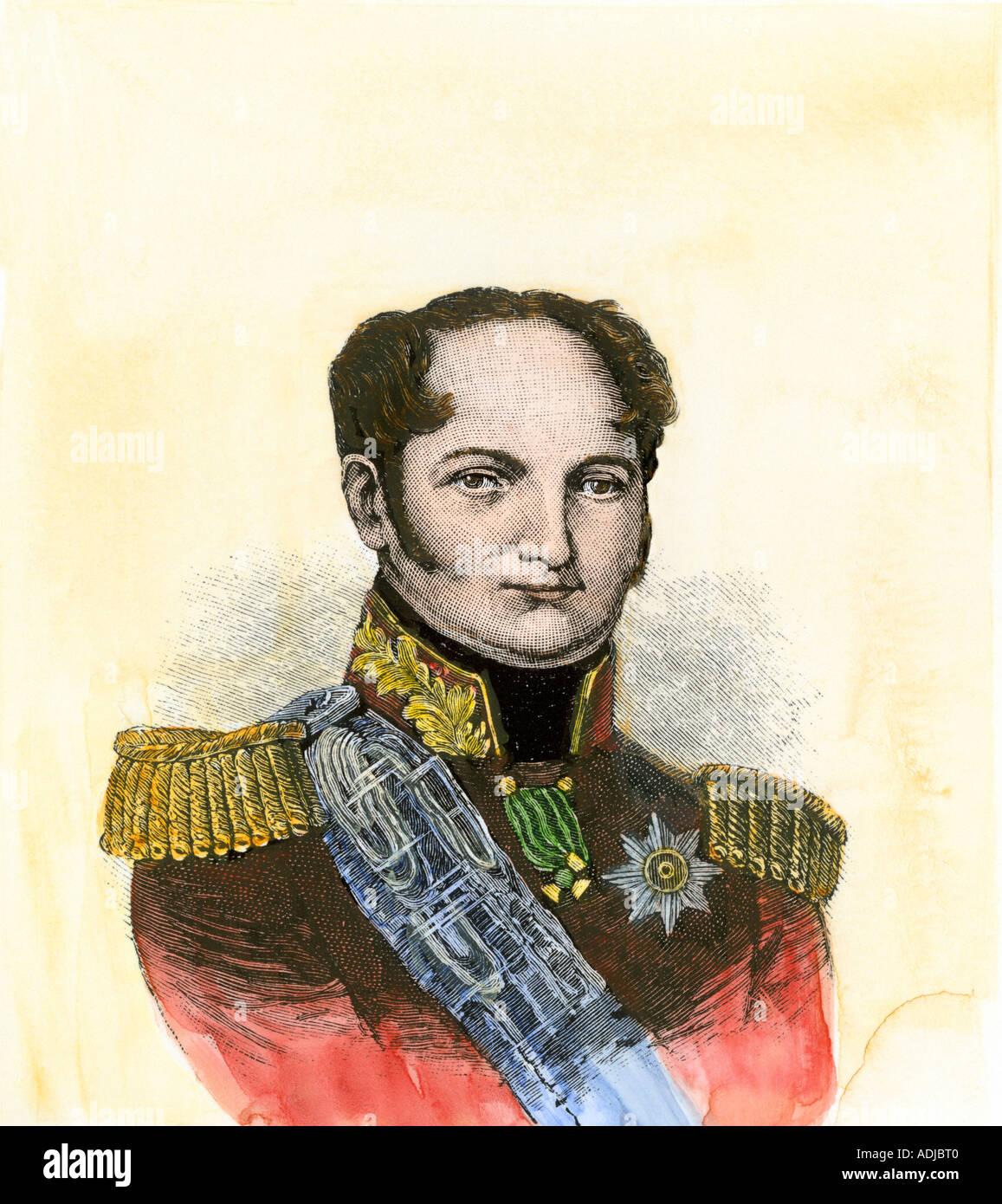 Alexander I empereur de Russie. À la main, gravure sur bois Photo Stock