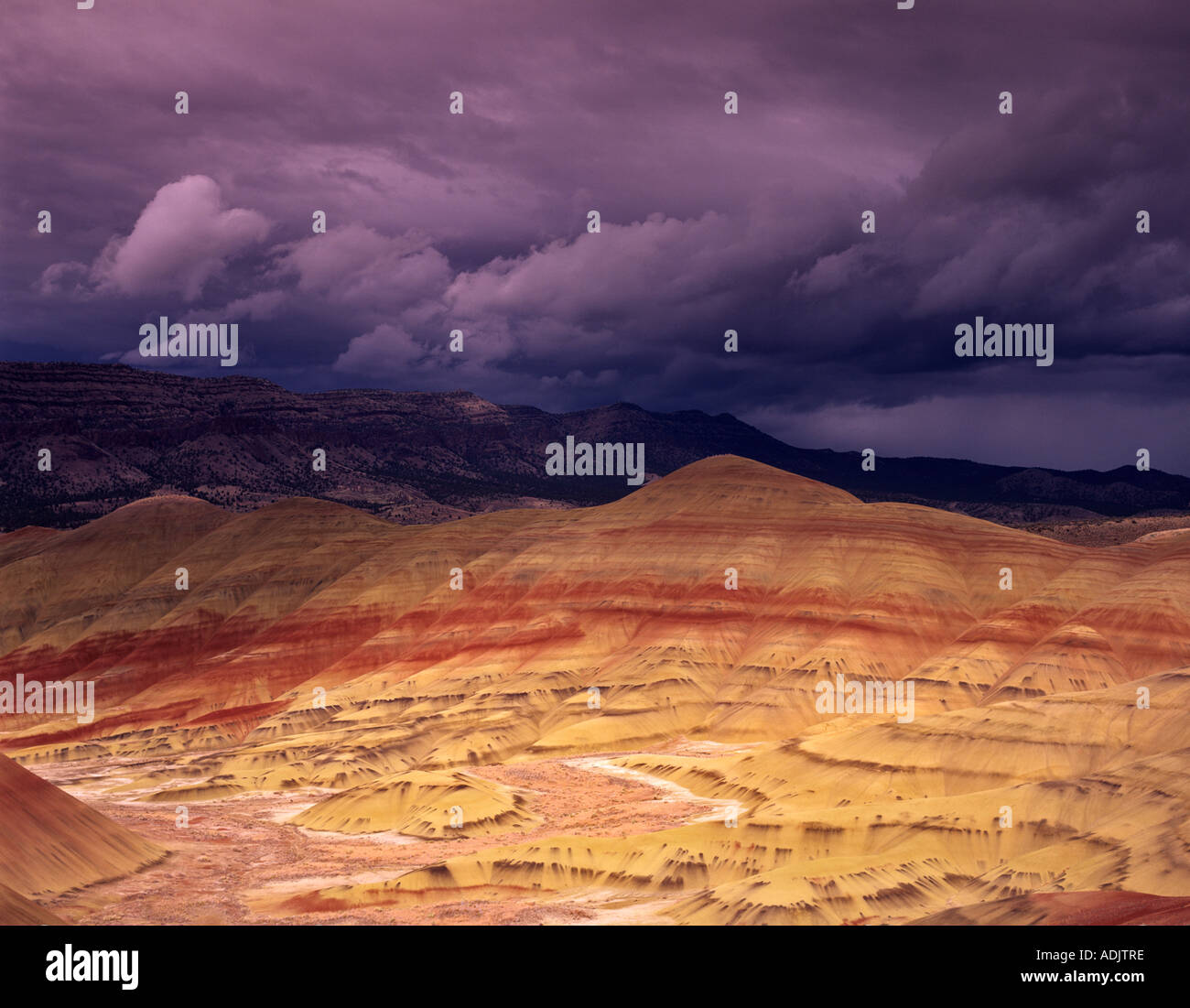 Collines peintes avec de gros nuages John Day Fossil jumeaux National Monument Oregon Photo Stock