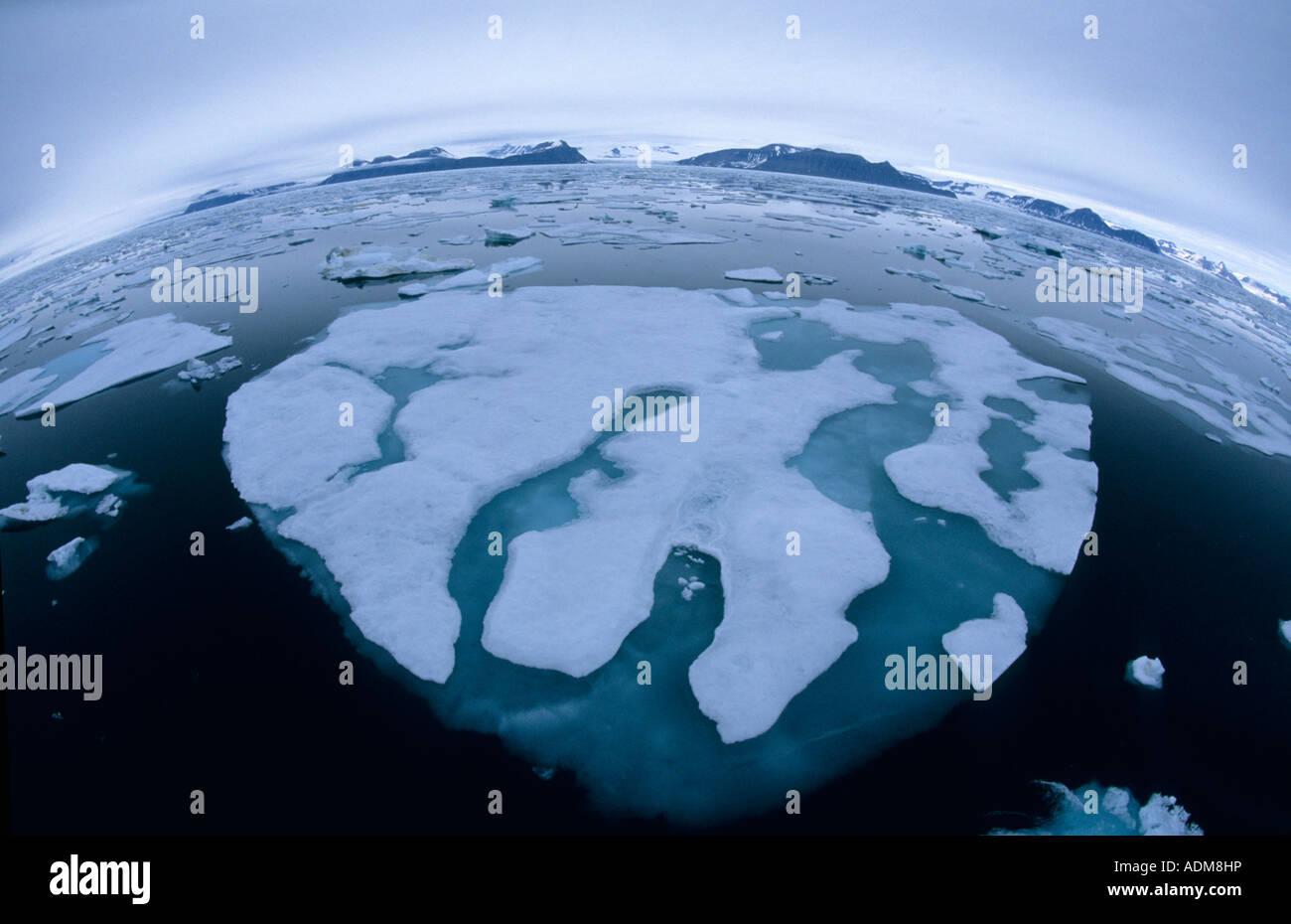 La Norvège, Svalbard, banquise arctique, Spitzberg, objectif Fisheye Photo Stock