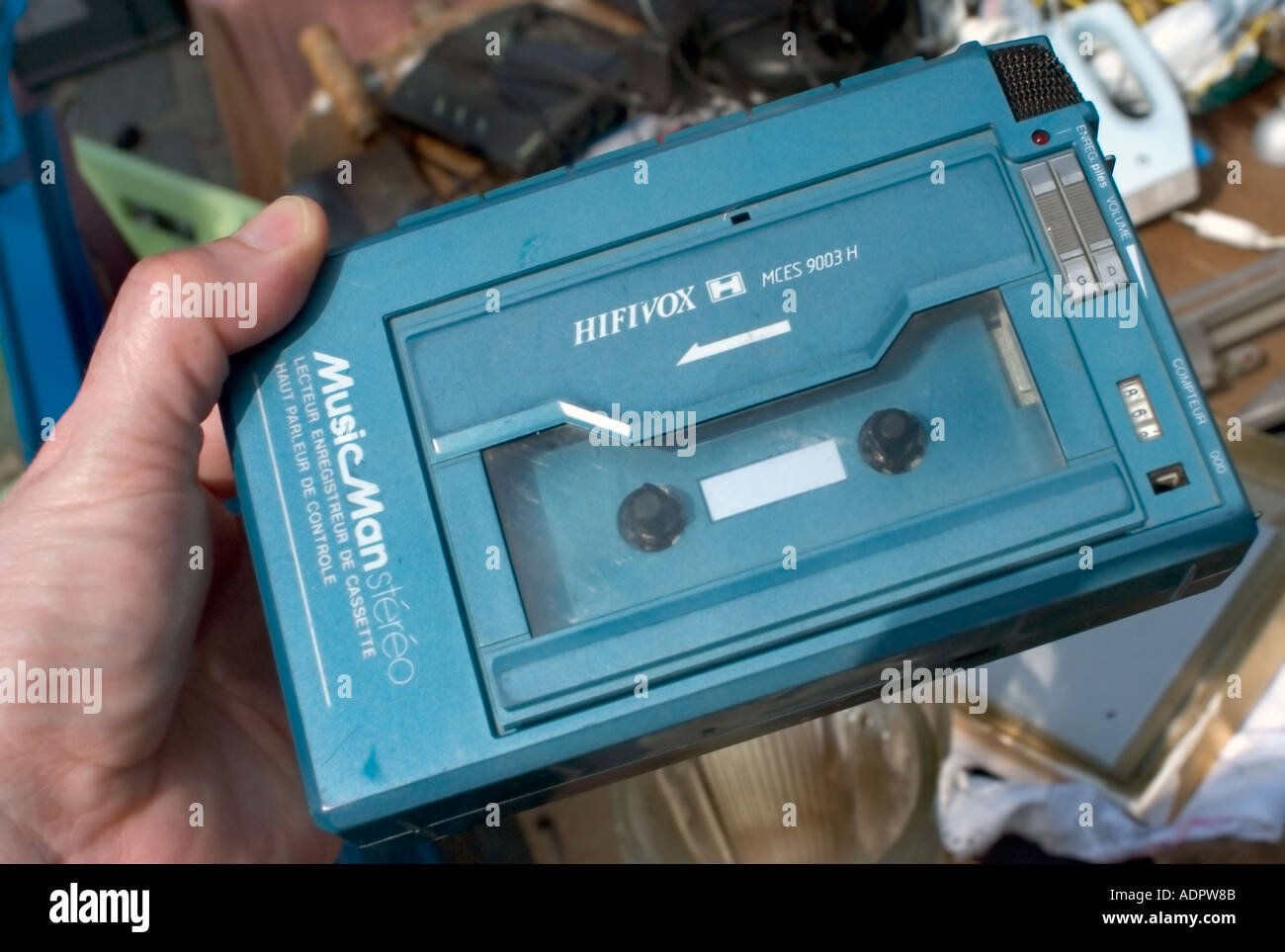 Paris France, magasins d'électronique grand public des années 1980 'Portable Lecteur de cassette audio' 'Brocante' 'Walkman' Vintage Photo Stock