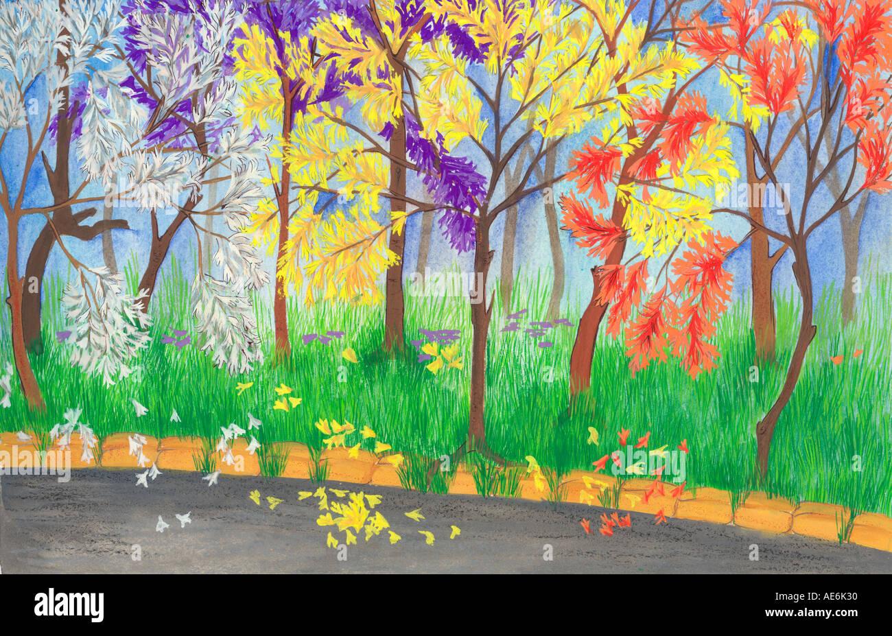 Ei71026 Peinture Dessin illustration couleur de jardin avec des arbres et herbe verte en Inde Photo Stock