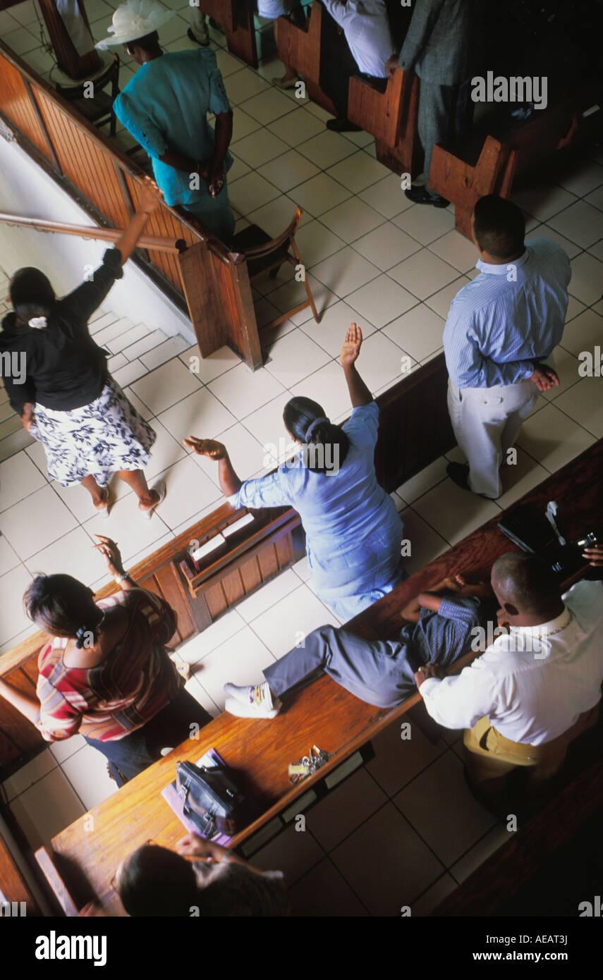 La messe du dimanche à l'Église baptiste dans Philipsburg sur St Martin Antilles néerlandaises Photo Stock