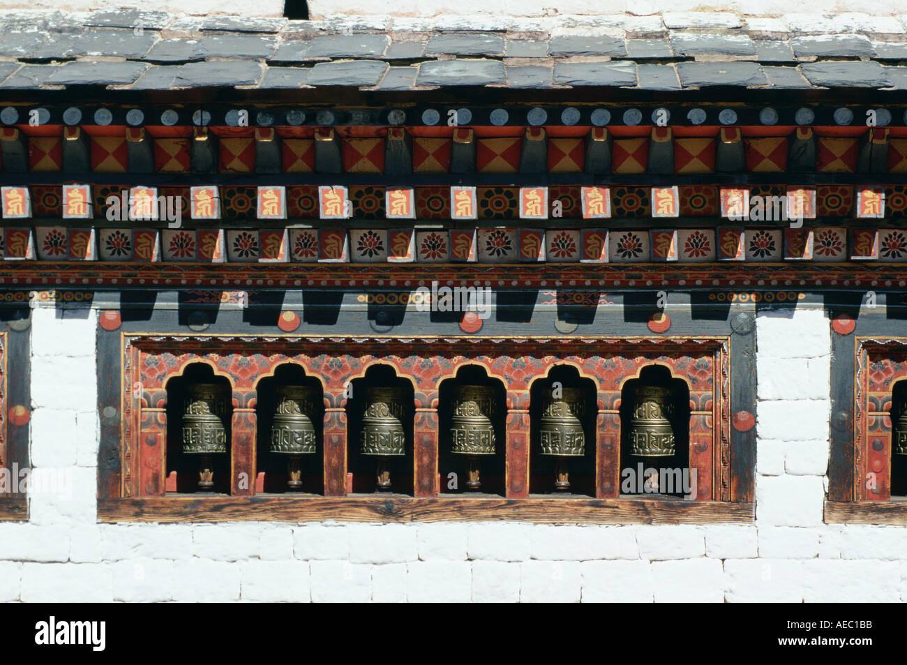 Roues de prière Tashichho Dzong du Bhoutan Photo Stock