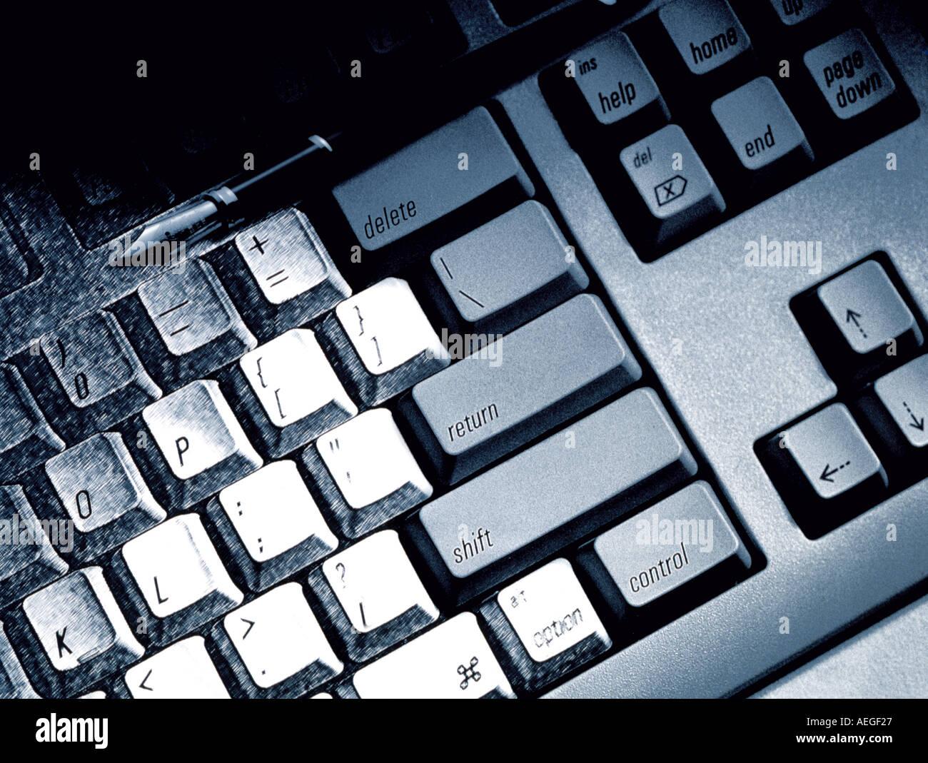 Noir blanc bureau b w les touches du clavier de l'ordinateur de la technologie d'entrée de texture de fond divers Photo Stock