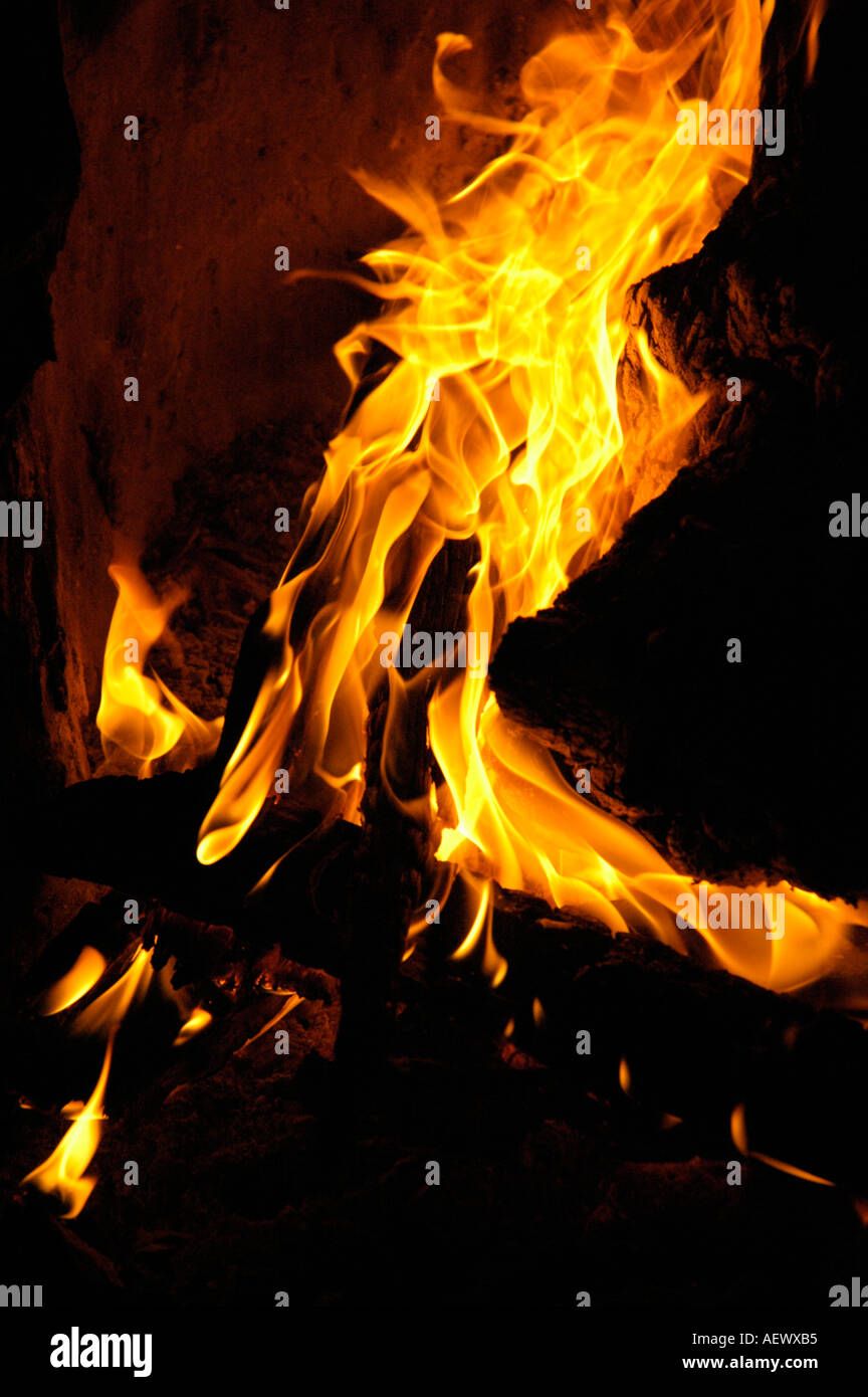 Grand feu de brûler avec les journaux des braises et flammes hautes Photo Stock