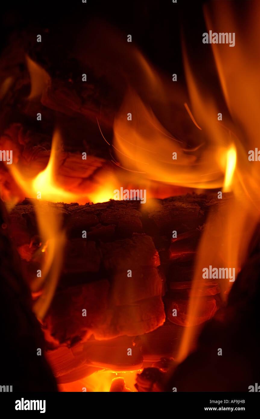 Bois de feu et de flammes Photo Stock