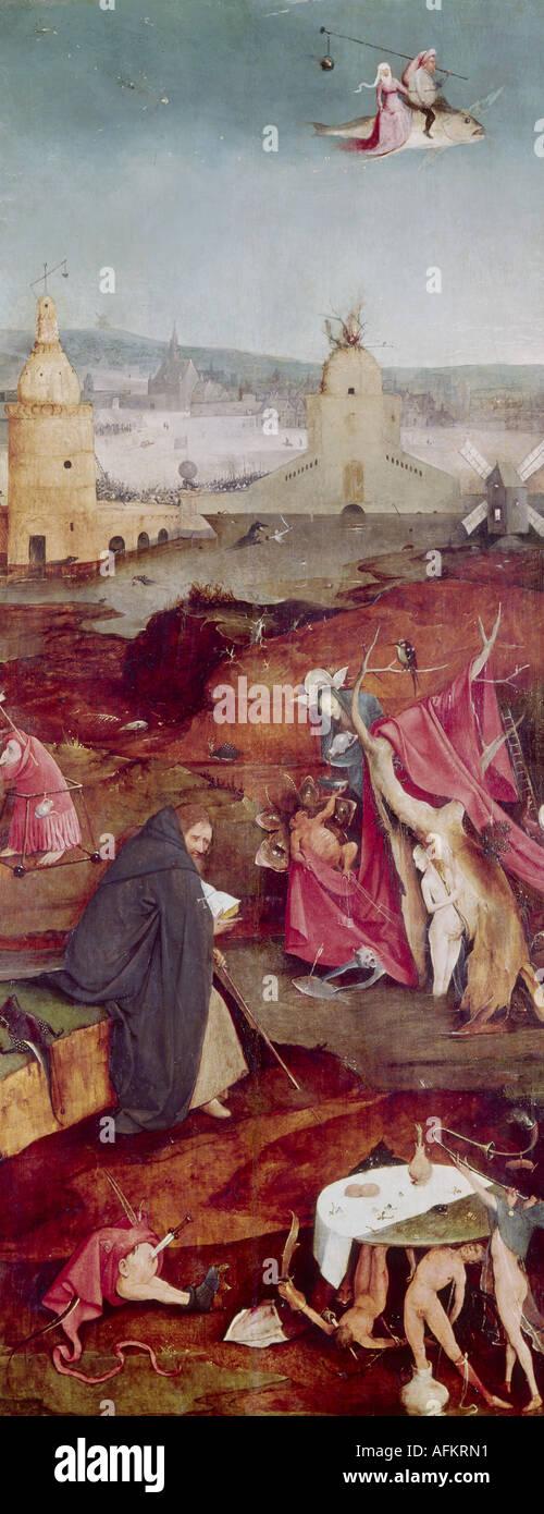 """'Fine Arts, Bosch, Hieronymus, (vers 1450 - 1516), peinture, """"la tentation de Saint Antoine"""", panneau de droite, Banque D'Images"""