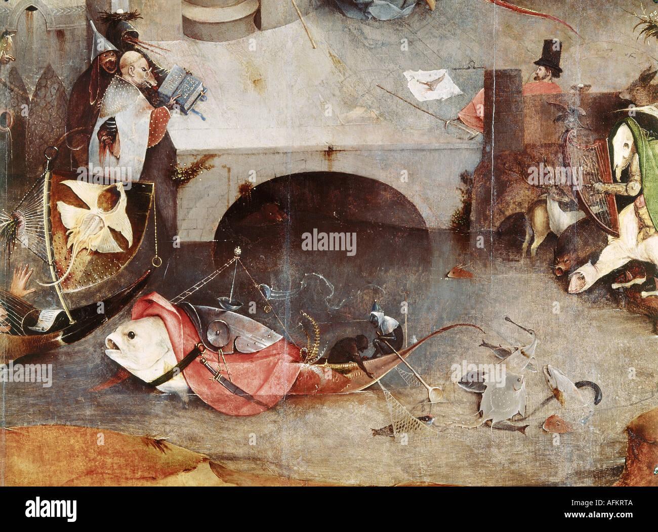 """'Fine Arts, Bosch, Hieronymus, (vers 1450 - 1516), peinture, """"la tentation de Saint Antoine"""", panneau central, détail, Banque D'Images"""