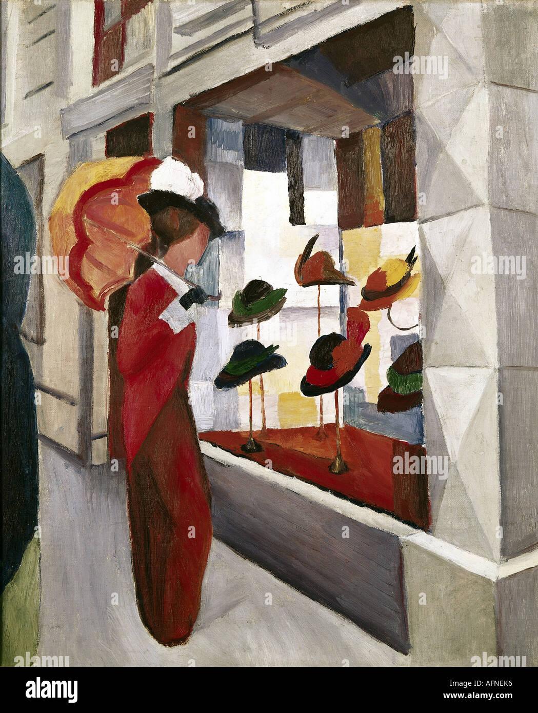 'Fine Arts, Macke, August, (1887 - 1914), peinture, 'Frau mit Sonnenschirm vor einem Hutladen', ('femme avec un parasol en face Photo Stock