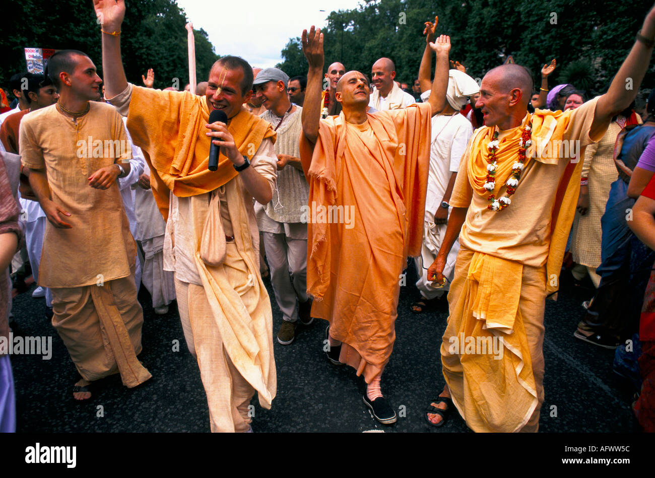 Hare Krishna Uk fête hindoue Ratha Jatra ou Rathayatra ou festival de char Londres, en Angleterre. HOMER SYKES Banque D'Images