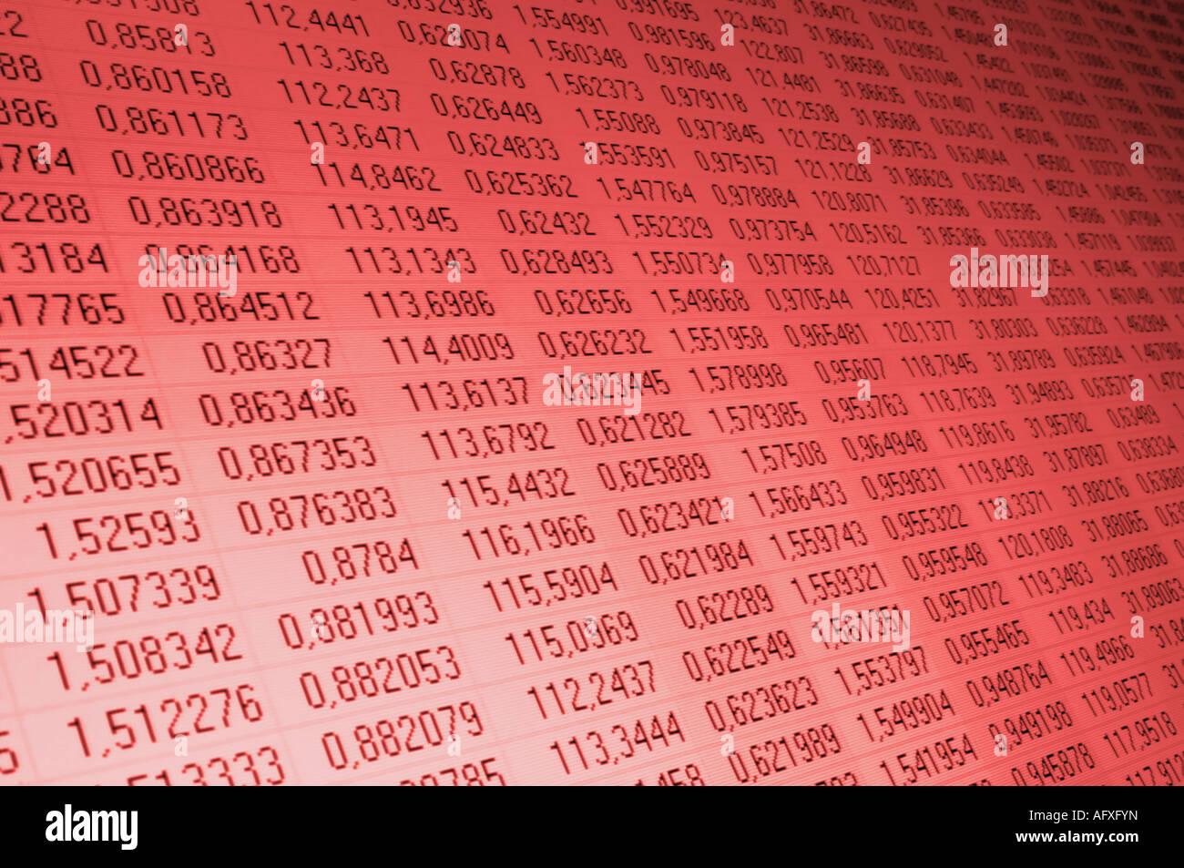 Des chiffres sur un écran d'ordinateur peint en couleur rouge Photo Stock