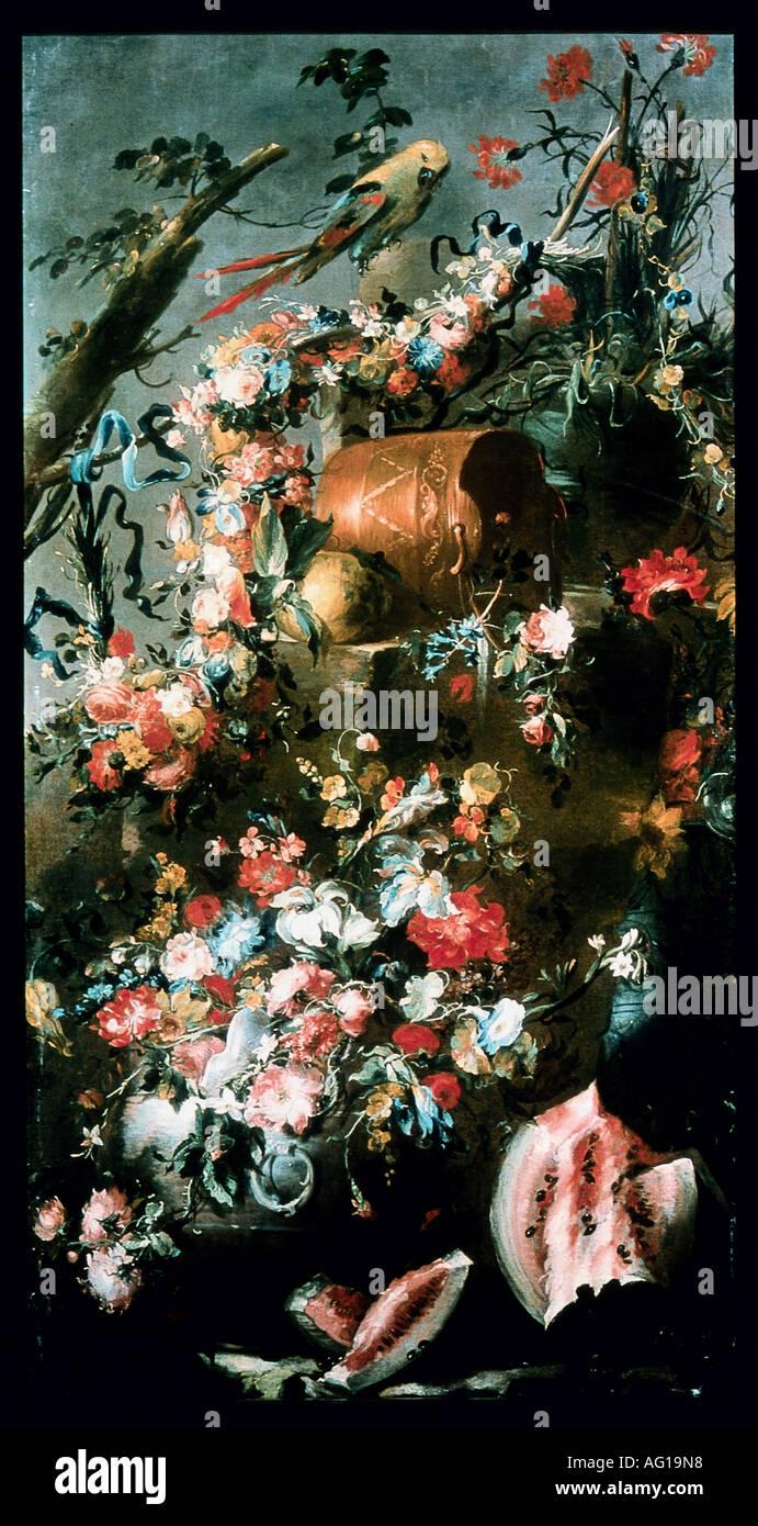 Beaux-arts, still life, 'Trifono recipiente con floreale, vasi di rame, anguria e' Philippe Fuchs, peinture 1785, Pseudo Guardi, huile sur toile, collection privée, l'artiste n'a pas d'auteur pour être effacé Photo Stock