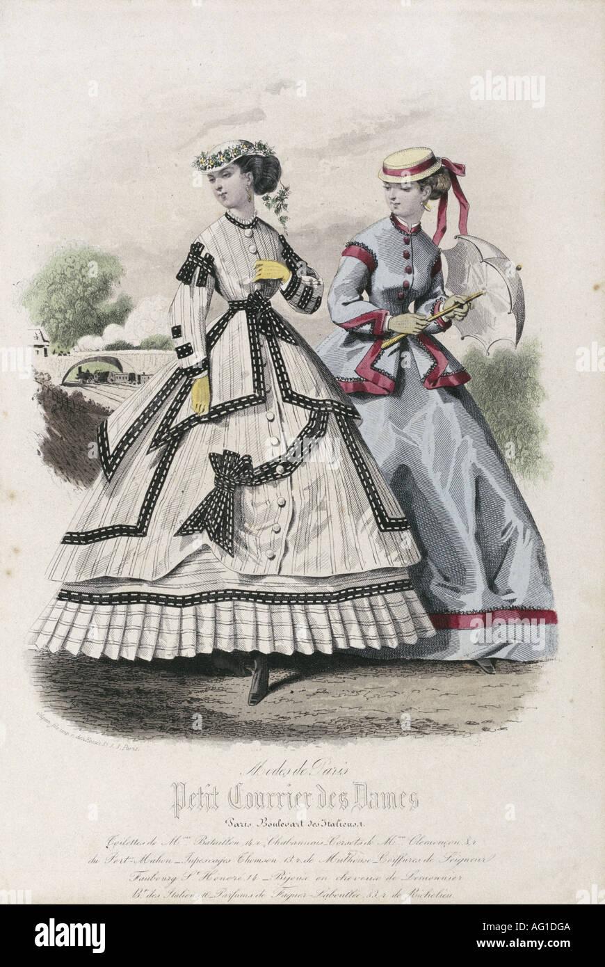 19e siècle, la mode, mode pour femmes, Modes de Paris, Petit Courrier des Dames, gravure, vers 1860, Additional-Rights-Jeux-NA Photo Stock