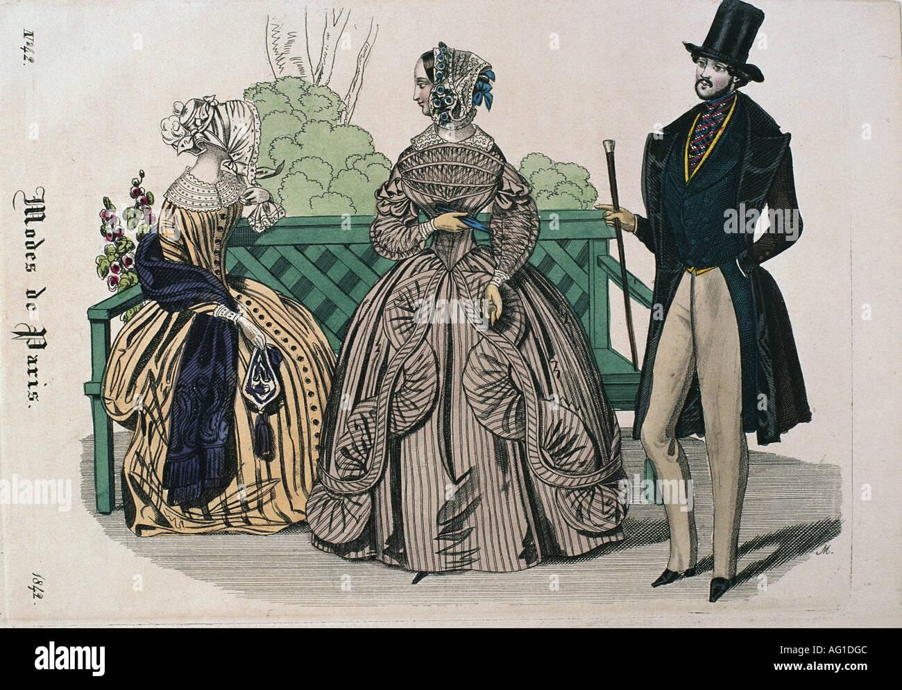19e siècle, la mode, mode pour femmes, Modes de Paris, deux dames et un monsieur dans le parc, gravure, 1842, Additional-Rights-Jeux-NA Photo Stock