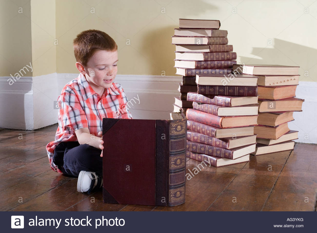 Boy reading books Photo Stock