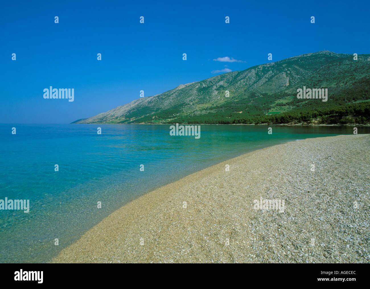 L'île de Brac Croatie Cape d'or Zlatni Rat Beach près de Bol Photo Stock