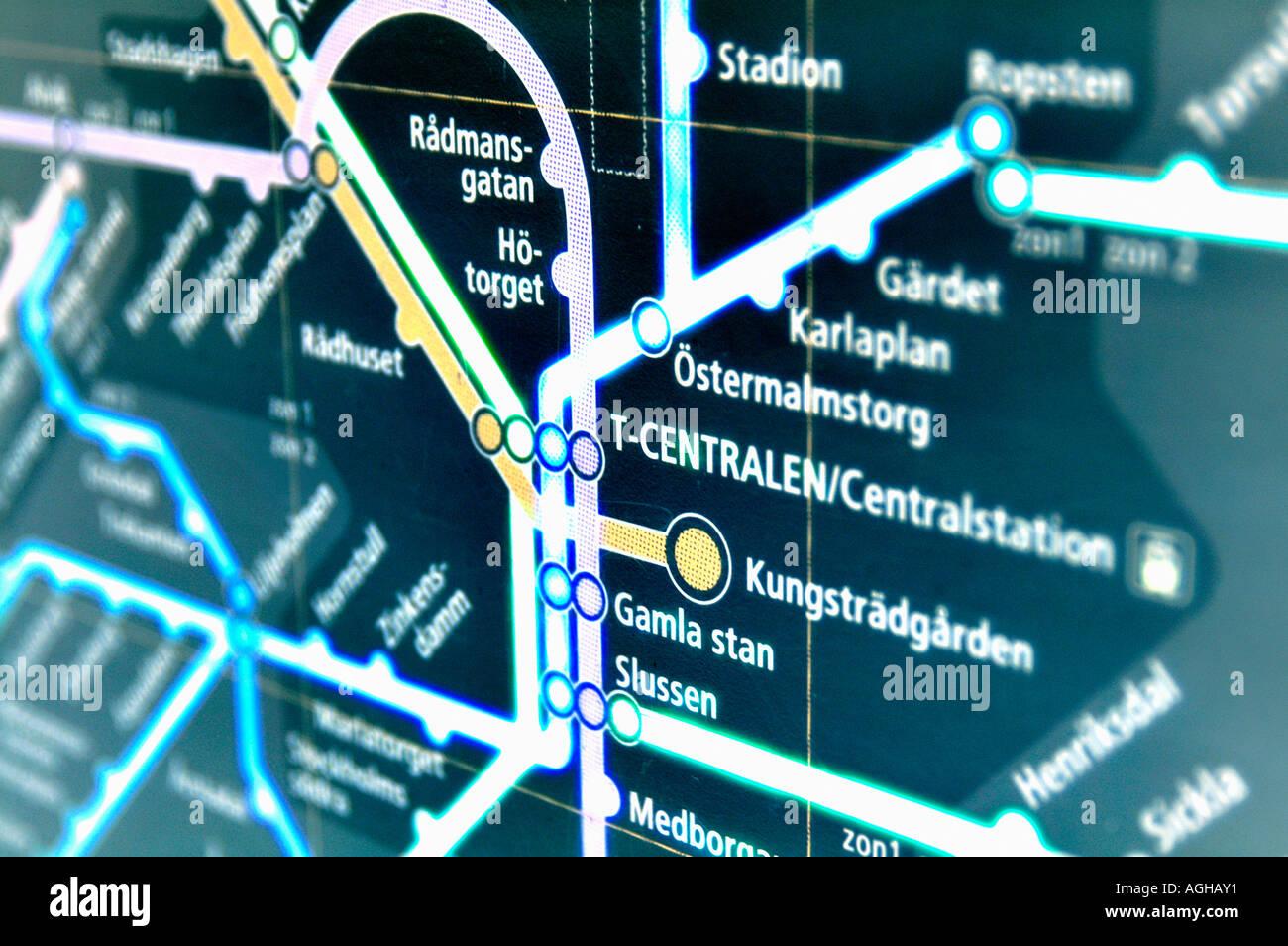 Carte du métro de la ville de Stockholm, Suède Photo Stock