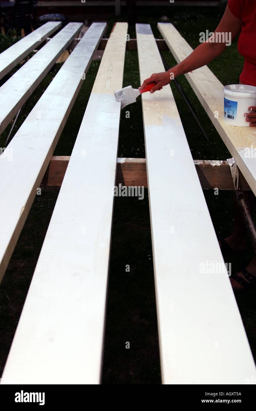Peinture la peinture à l'huile blanche sur de longues bandes Photo Stock