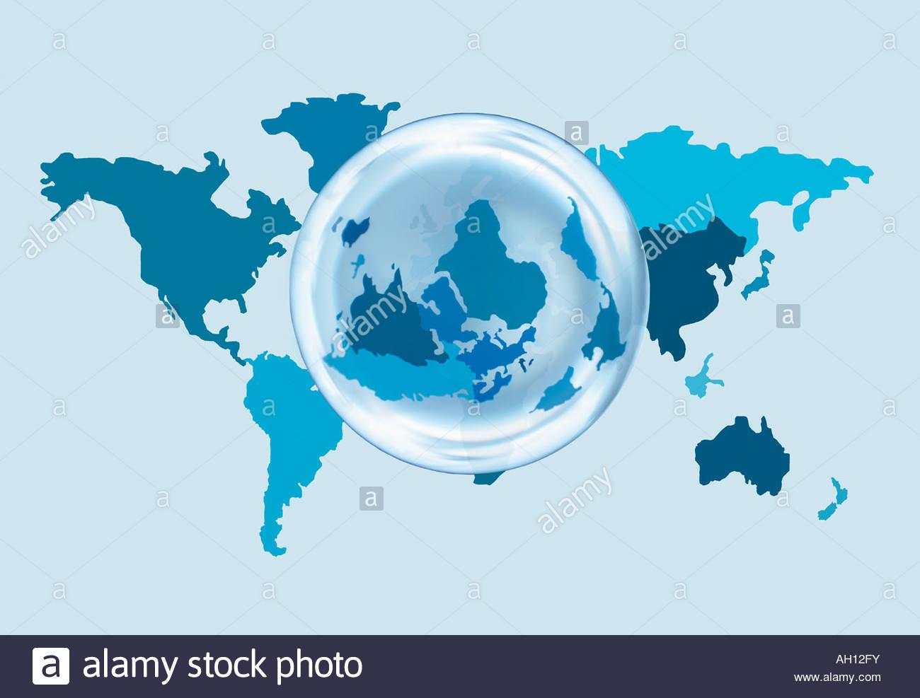 Une carte du monde avec une superposition de globe Photo Stock