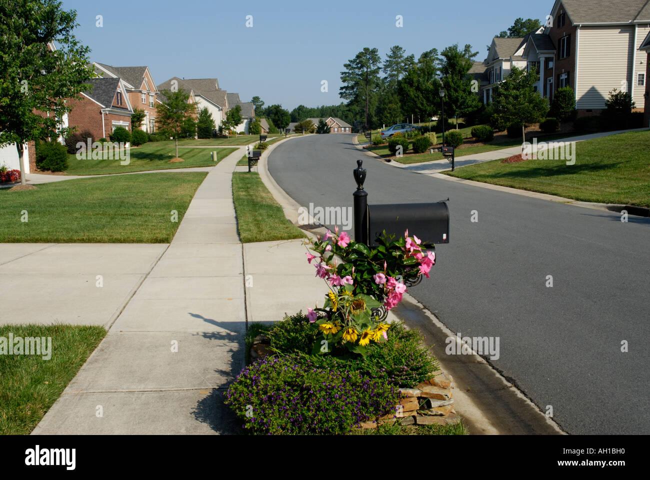 Développement de quartier rue de banlieue avec trottoir, boîte aux lettres, fleurs Banque D'Images