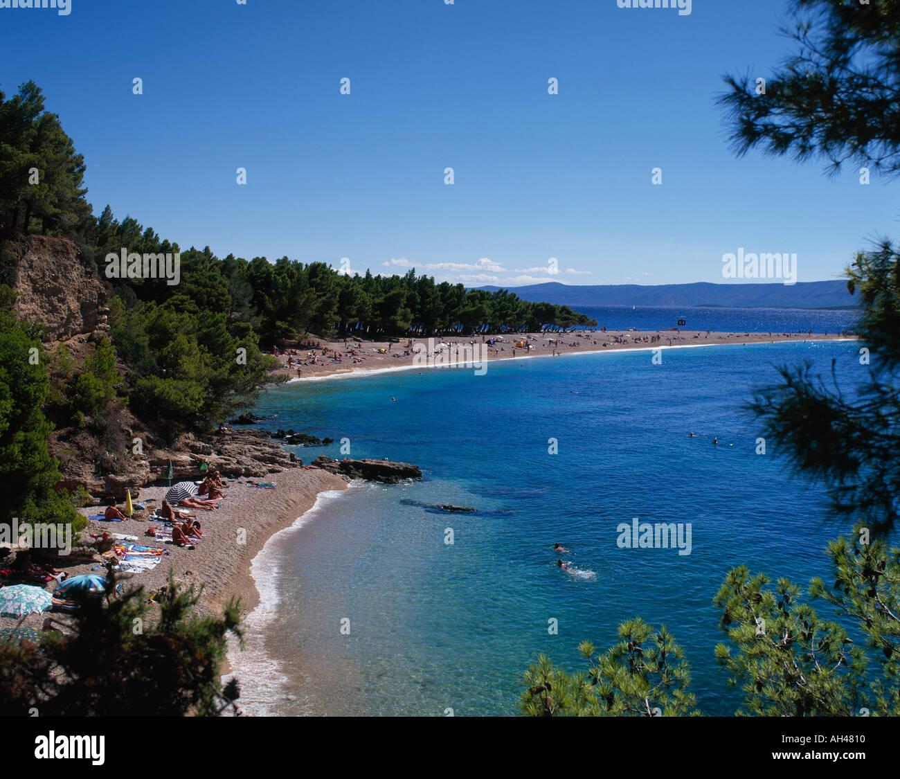 Plage du Cap d'or de l'île de Brac Bol Croatie Photo Stock