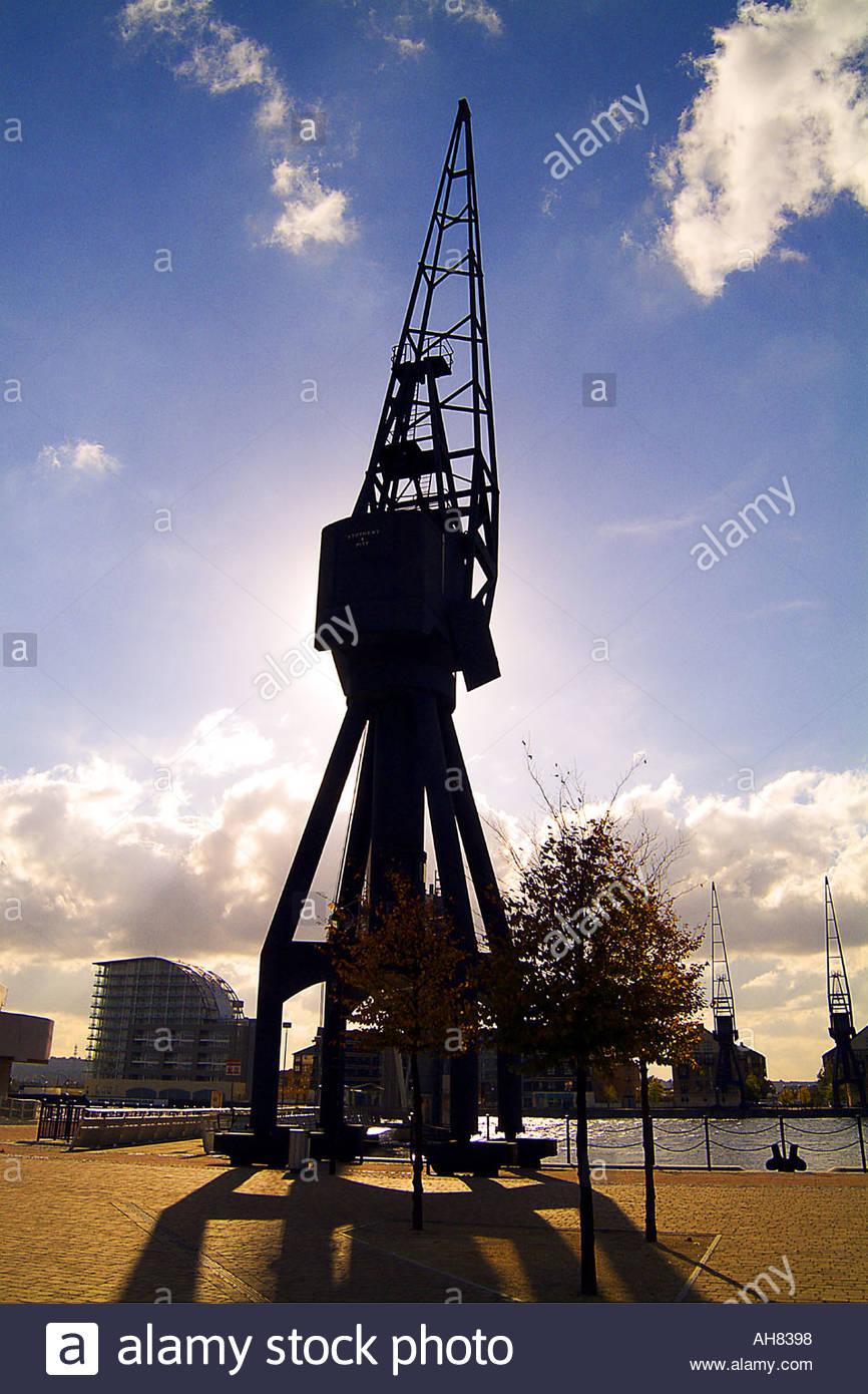 Crane en silhouette à Docklands Londres Photo Stock