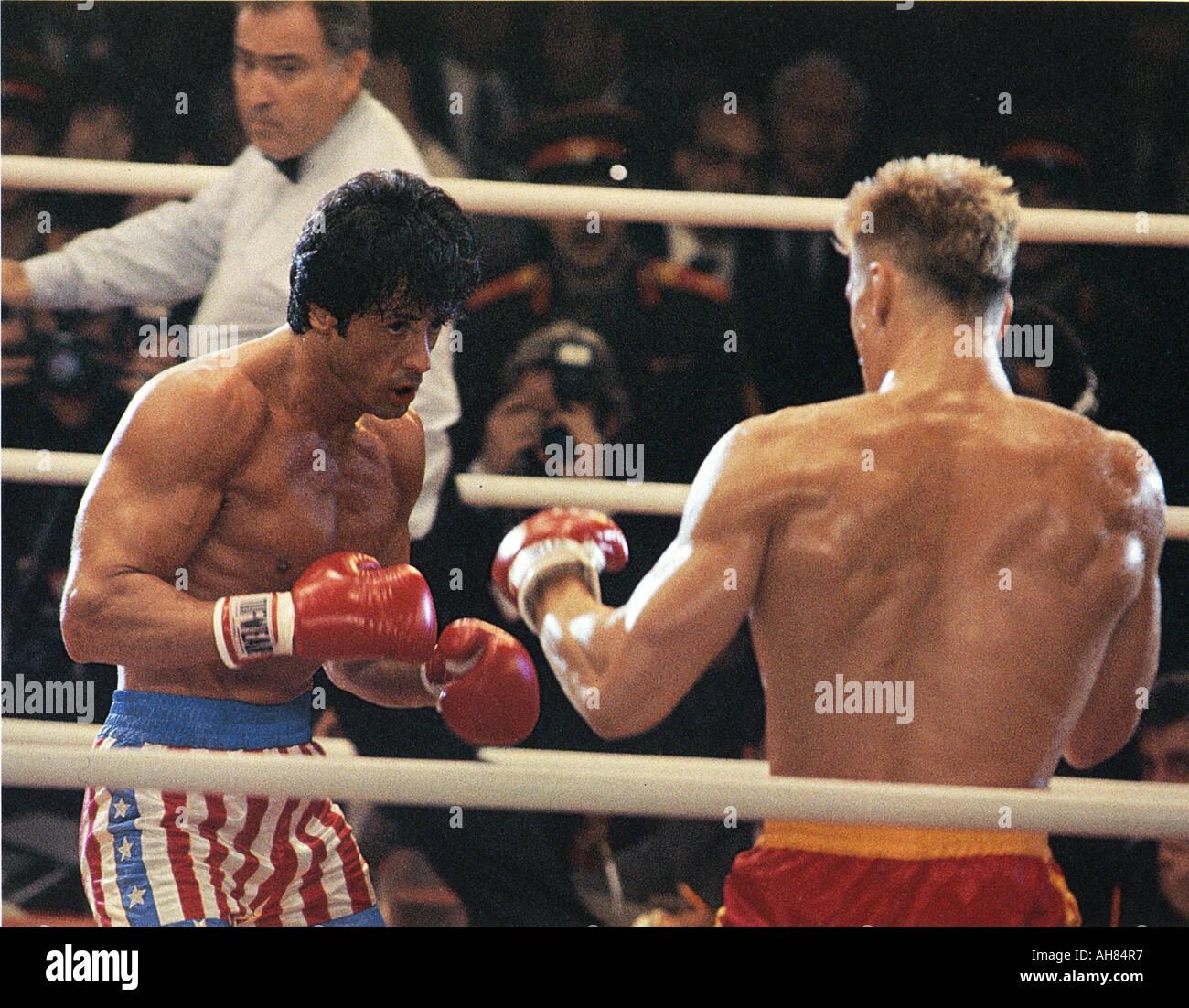 ROCKY IV 1985 MGM UA film avec Sylvester Stallone et Dolph Lundgren Banque D'Images
