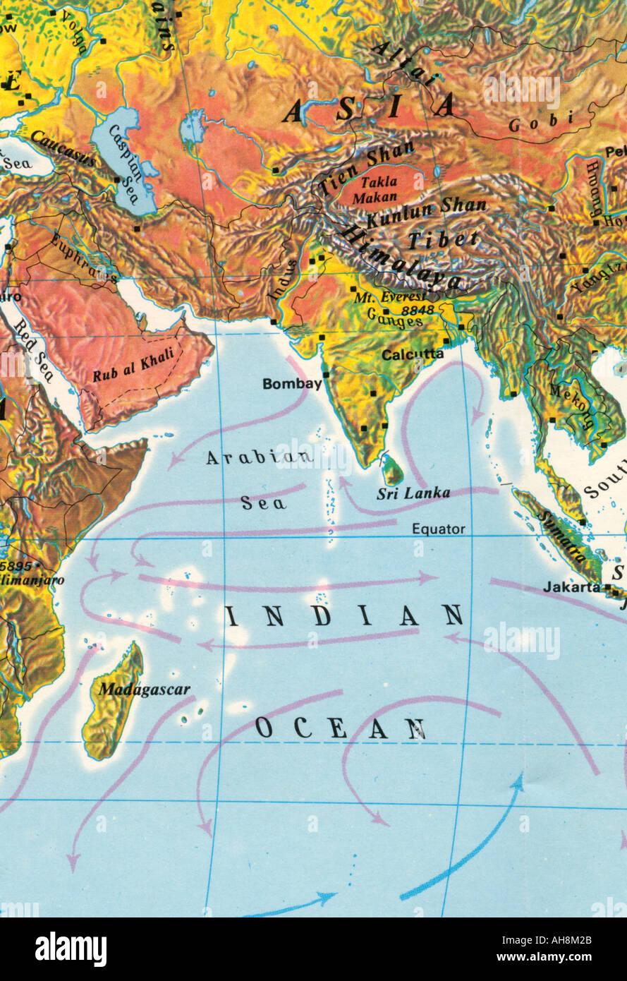 Carte de l'Inde en Asie et Océan Indien mer d'Oman Sri Lanka Tibet Madagascar Équateur Photo Stock
