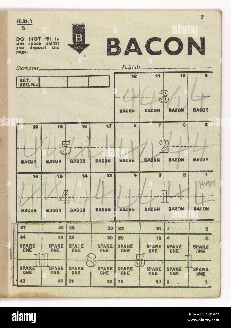 Des coupons de rationnement Bacon Photo Stock