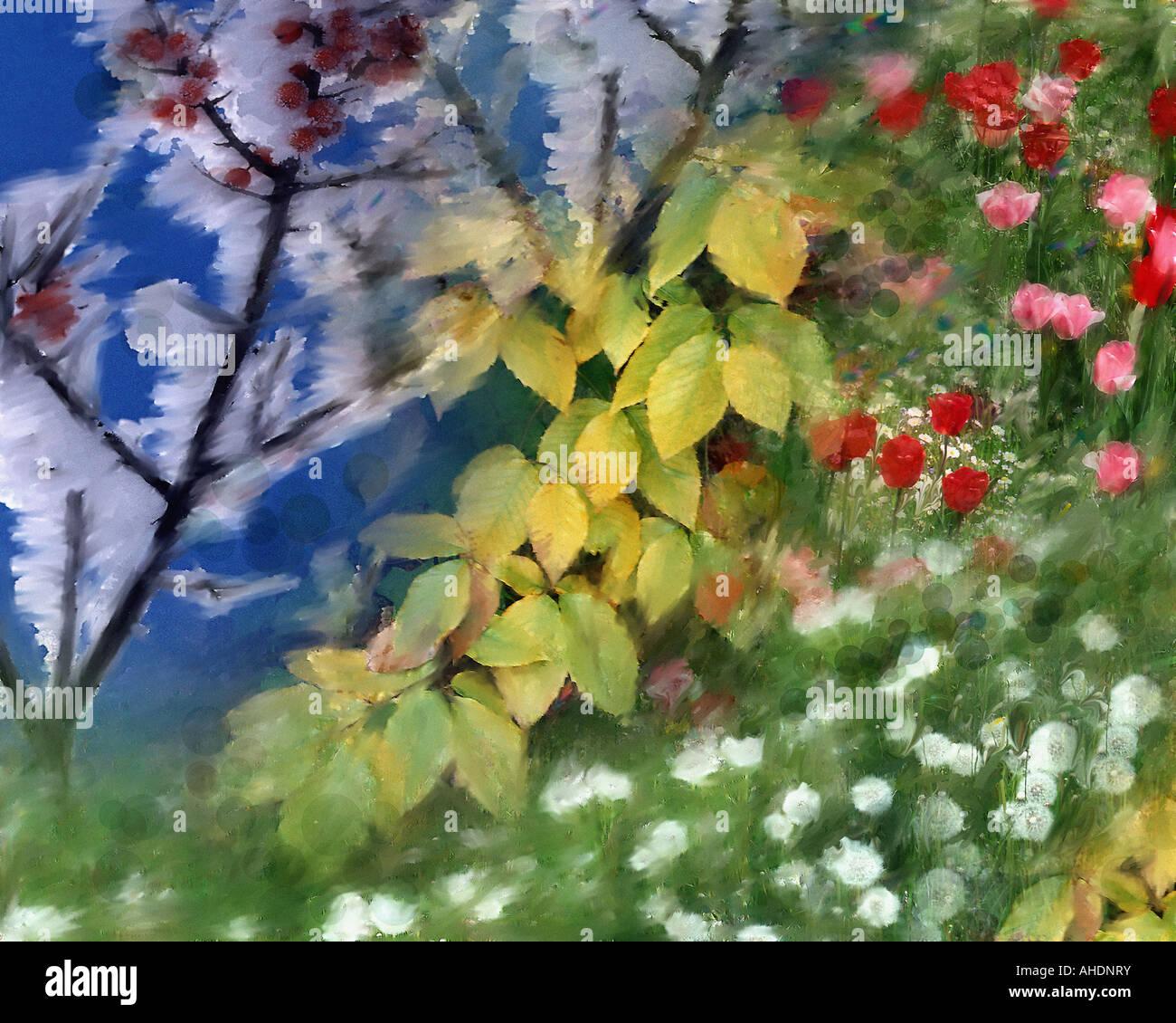 L'ART NUMÉRIQUE: Quatre Saisons Photo Stock