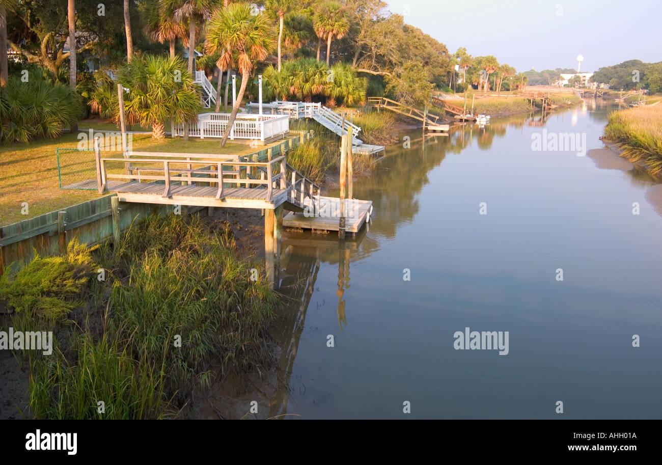 Mur d'inondation Fripp Island Caroline du Sud USA Photo Stock