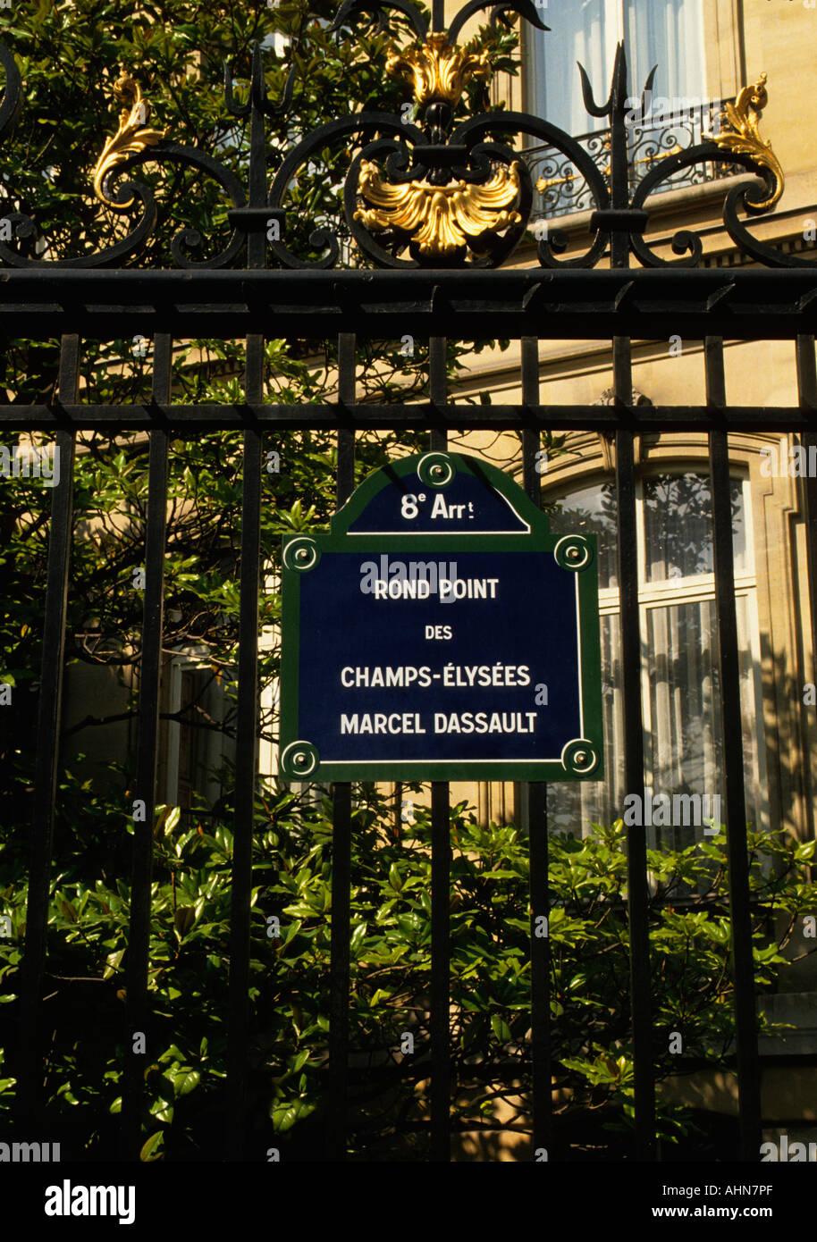 France Paris rue signe pour le Rond Point des Champs Elysees l'Europe Photo Stock