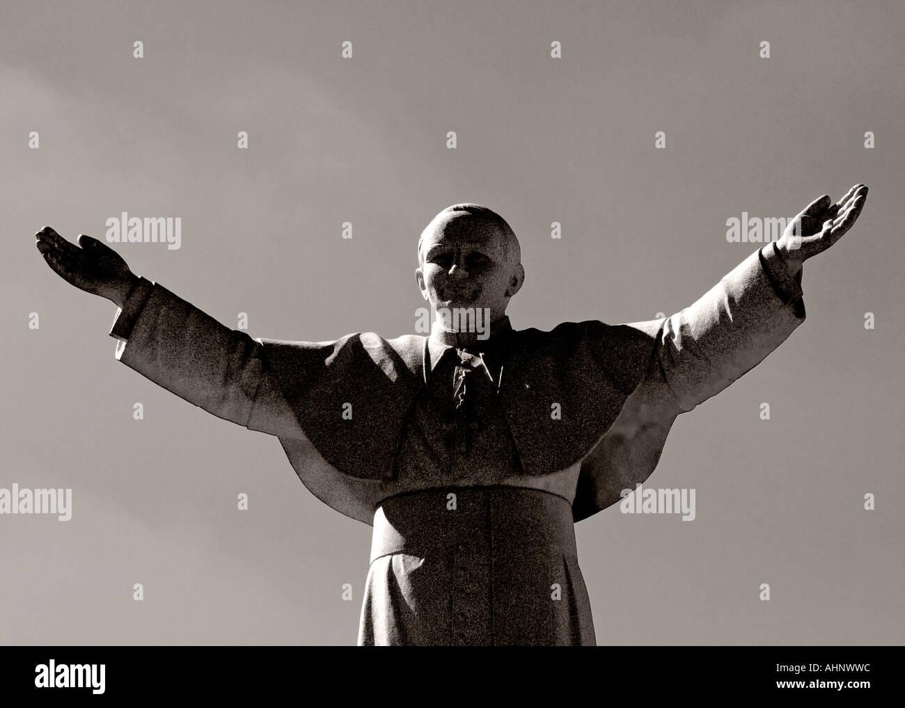 Le Pape Jean Paul II Statue en monochrome Photo Stock