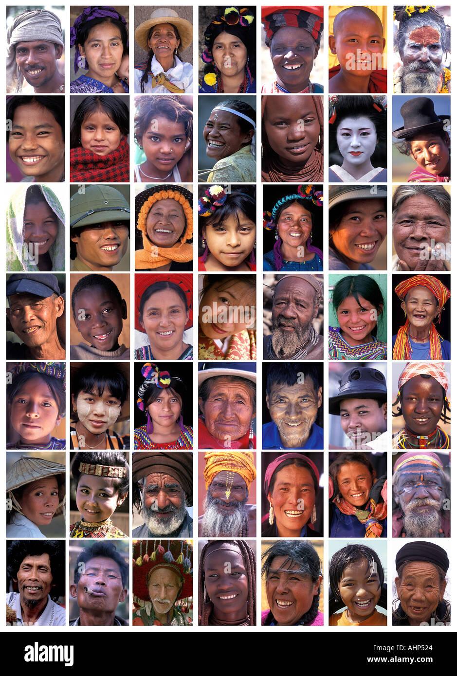 Collage de portraits de visages à travers le monde Asie Amérique latine et l'Afrique de l'image grand format Photo Stock