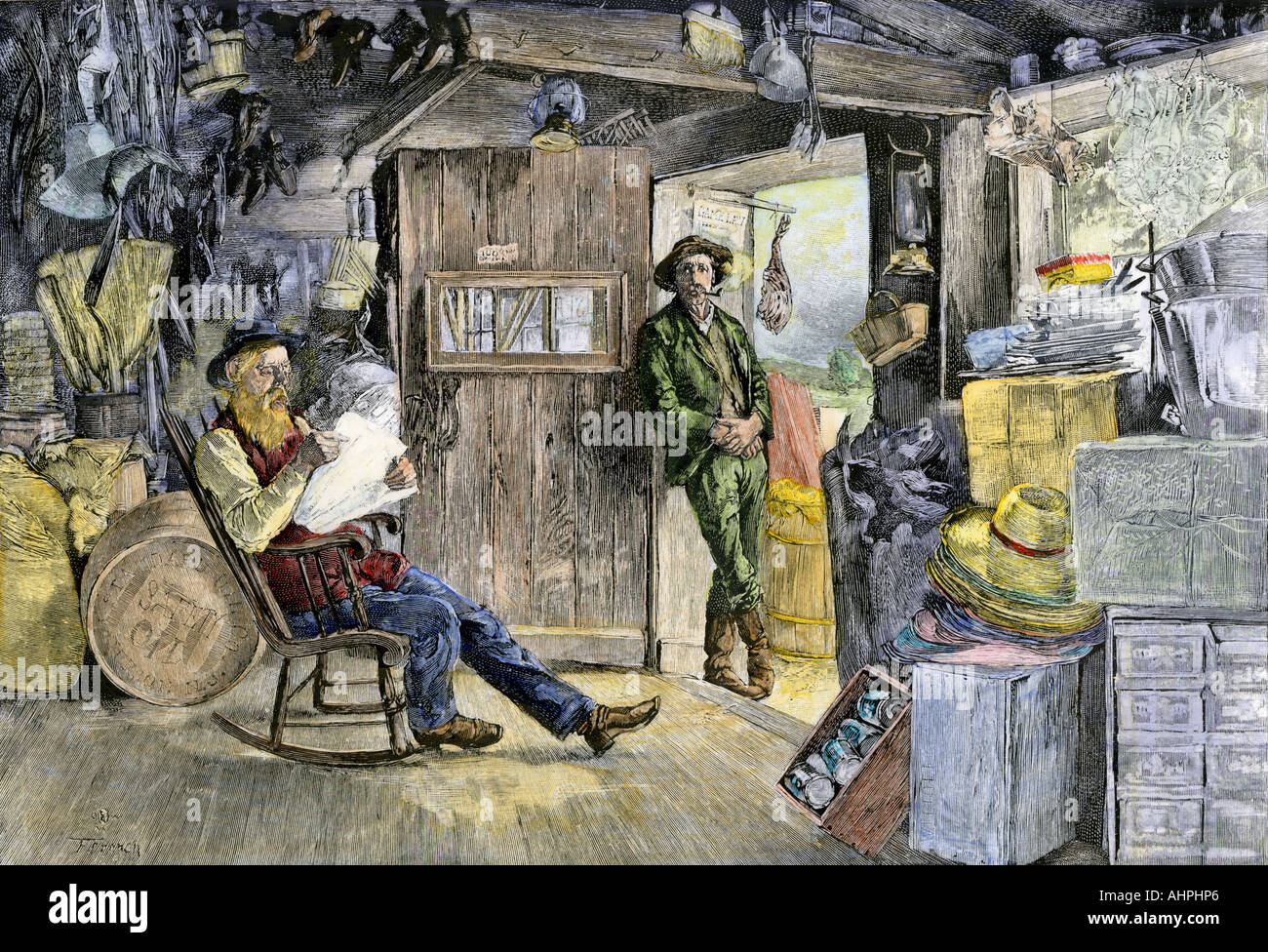 Village country store dans les années 1800. À la main, gravure sur bois Banque D'Images