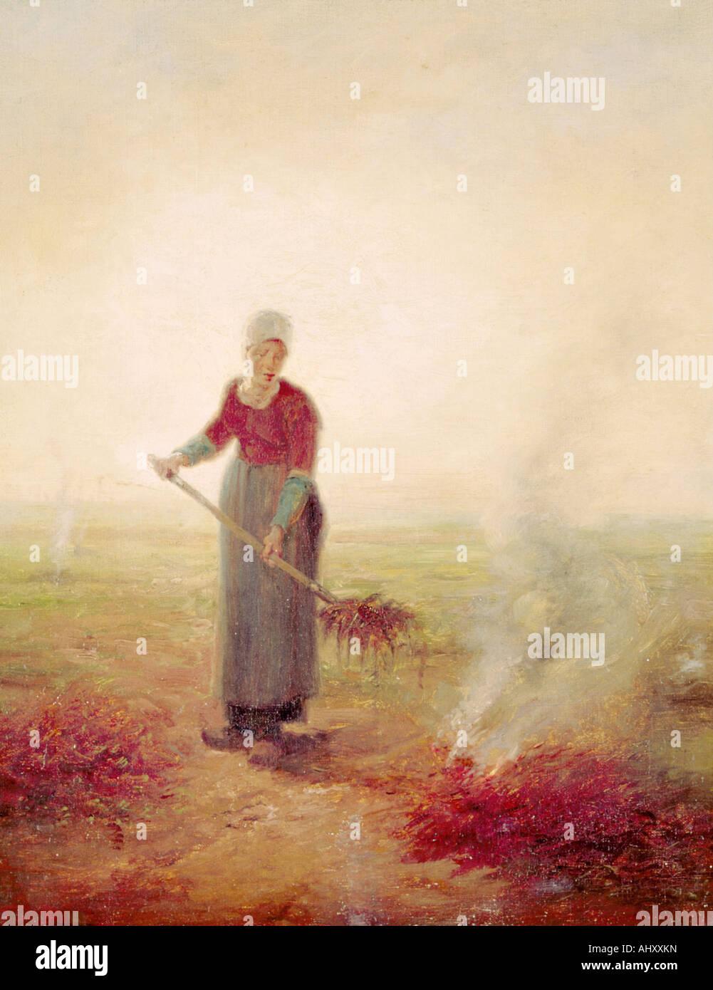 Beaux-arts, Millet, Jean-François (1814 - 1875), la peinture, les jeunes farmgirl, Musée d' art et Photo Stock