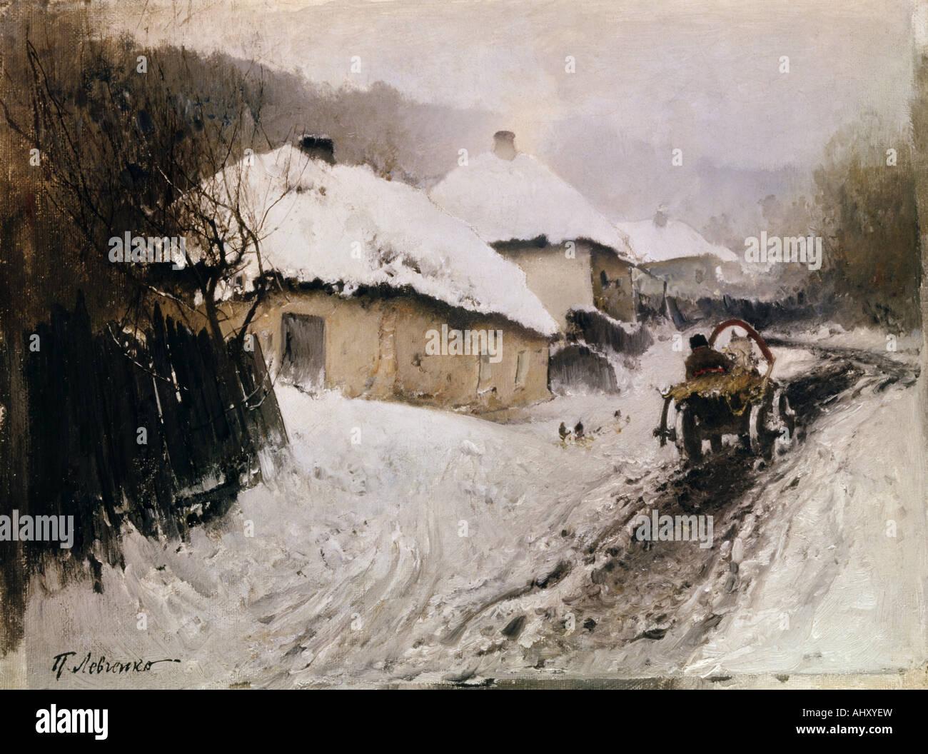 """'Fine Arts, Levchenko, Petro, (1856 - 1917), peinture, """"un village en hiver"""", 1905, huile sur toile, Photo Stock"""