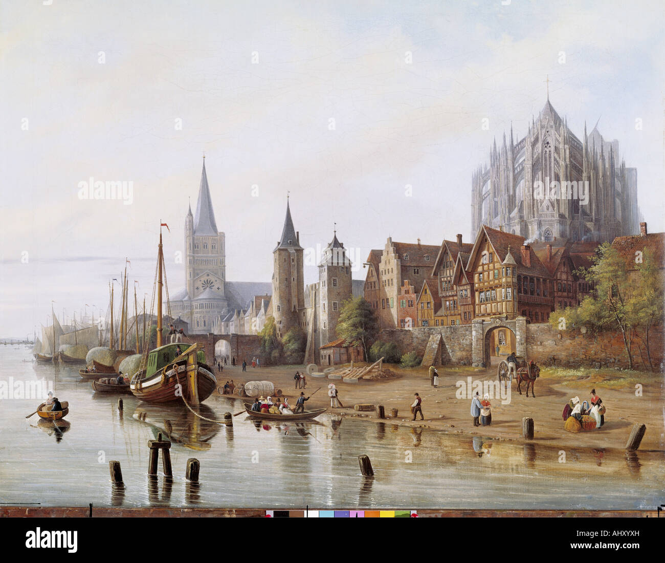 'Fine Arts, Hintze, Johann Heinrich, (1800 - 1862), peinture, 'Rheinufer bei Köln', ('Banque Photo Stock