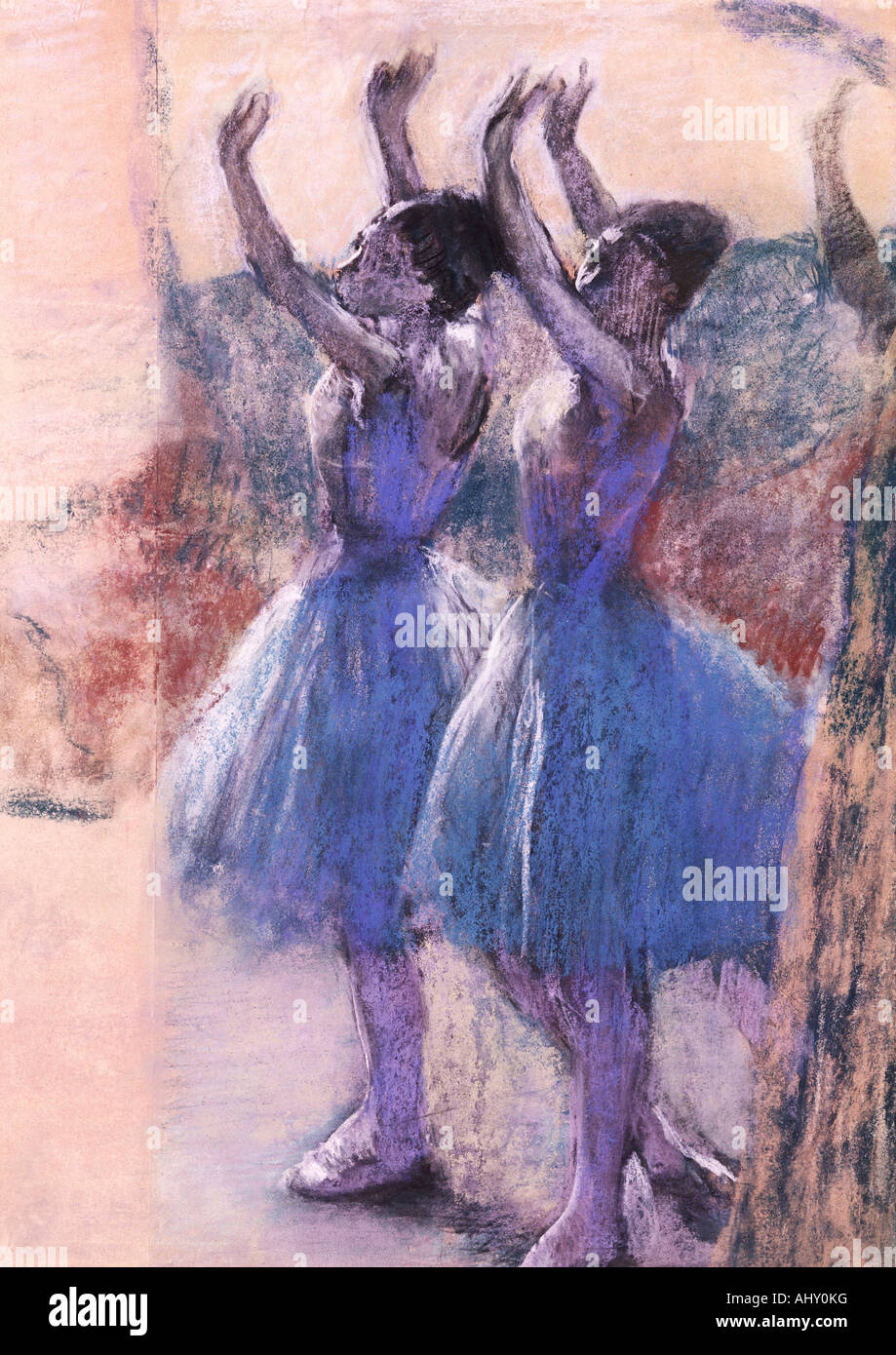 'Fine Arts, Degas, Edgar, (1834 - 1917), peinture, 'Deux danseuses', ('deux danseurs'), vers 1900, le papier, 79 cm x 51 cm, von Banque D'Images