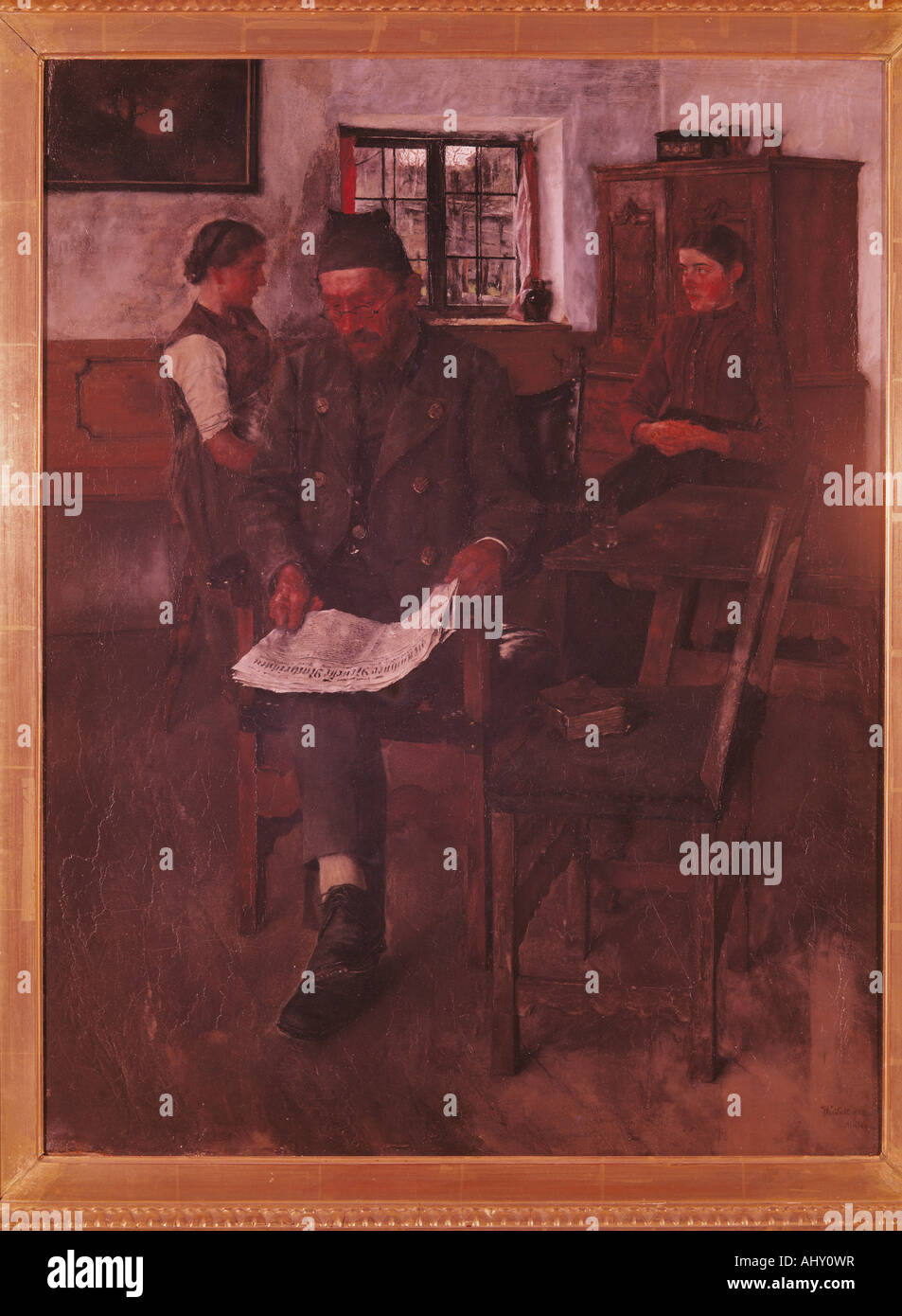 'Fine Arts, Leibl, Wilhelm, (1844 - 1900), peinture, 'Der Zeitungsleser', ('le lecteur de journaux'), 1891, huile sur toile, 63 Banque D'Images