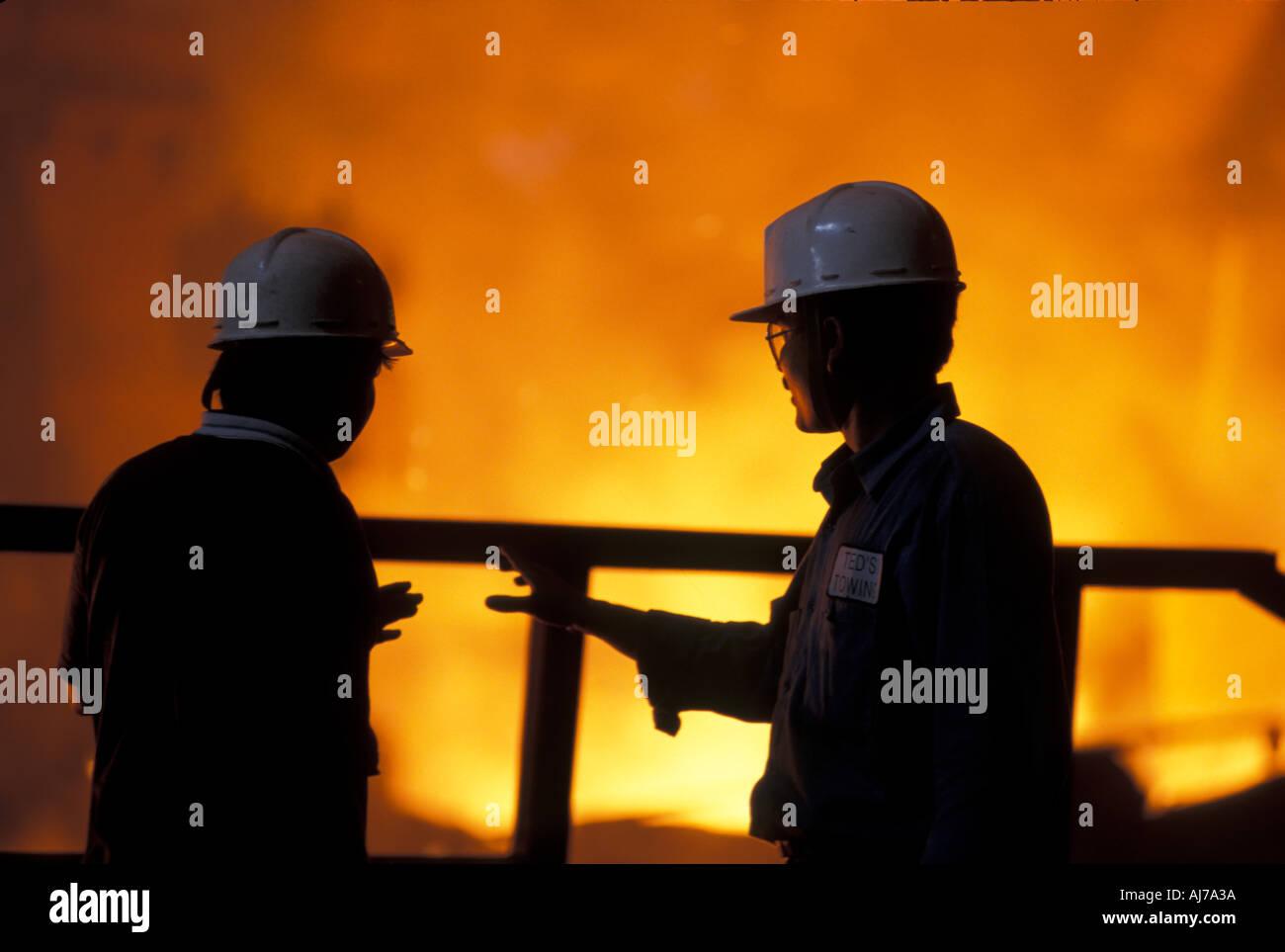 Les travailleurs de la VOILE Steel Authority of India Ltd Inde Jharkhand Bokaro plante Photo Stock