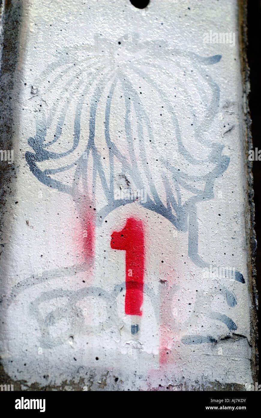 Chiffre En Tag avec le chiffre 1 graffiti sur le tag banque d'images, photo stock